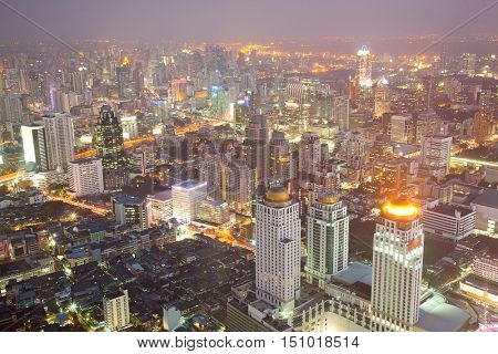 Aerial Bangkok Skyline Downtown Cityscape Thailand at Night