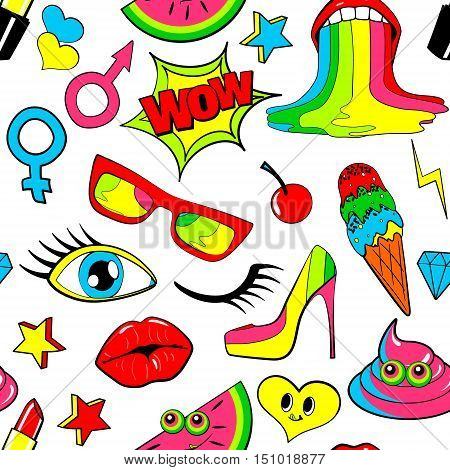Seamless pattern of fashion patch badges. lips, kiss, heart, speech bubble, star, ice cream, lipstick, eye, shit. Vector isolated background with stickers, pins, patches in cartoon 80s-90s comic style