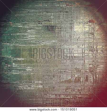 Old school frame or background with grungy textured elements and different color patterns: yellow (beige); brown; gray; green; black; pink