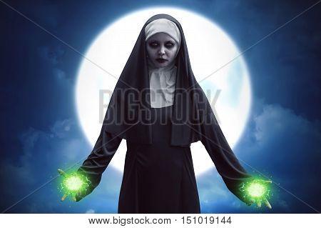 Demon Nun Asian Woman Get Green Spell Strength