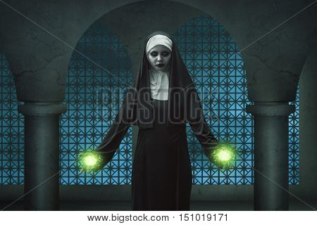 Creepy Nun Asian Woman Showing His Magic Power