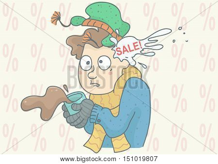 Man being hit by snowball with sale inscription, percentage symbols in background. Vector illustration for winter sale, with shocked man.