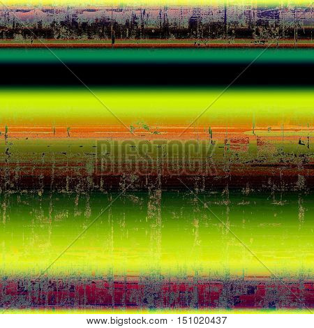 Scratched vintage colorful background, designed grunge texture. With different color patterns: yellow (beige); brown; green; red (orange); purple (violet); black