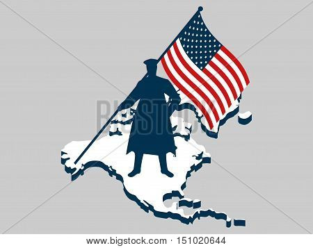 Veterans day. Man with US flag military. Continent North America. Honors war heroes veterans. Vector iilstration.
