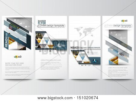 Flyers set, modern banners. Business templates. Cover design template, easy editable, abstract flat layouts. Abstract multicolored background of nature landscapes, geometric triangular style, vector illustration