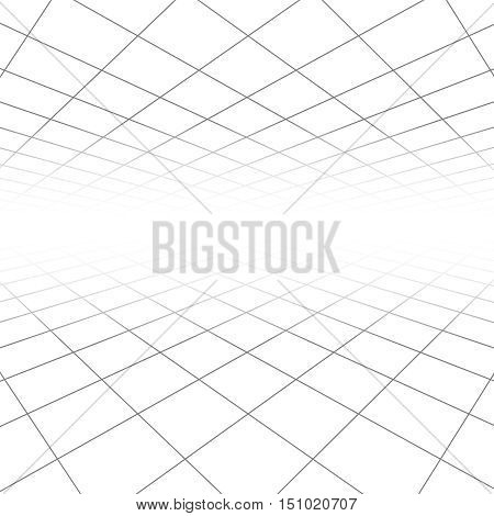 Ceiling and floor tile texture, 3d lines in perspective vision vector abstract geometric background. Space infinity linear grid illustration