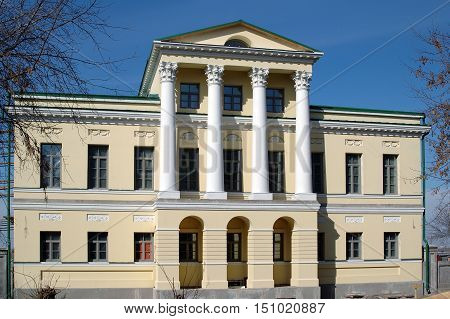 Tyumen, Russia - April 16, 2005: House of governor. Former building of Nobility assemly. It is constructed at end of the 1830th at the expense of the merchant Trusov on abrupt bank of Tura river