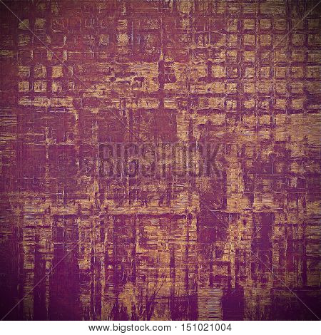 Vintage textured background with copy space. Old style backdrop with different color patterns: yellow (beige); brown; red (orange); purple (violet); pink