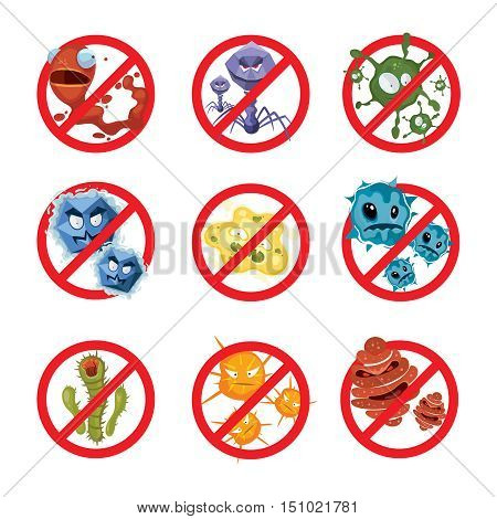 Anti bacteria and germs vector signs set. Ban bacterium and bacillus, danger microorganism illustration