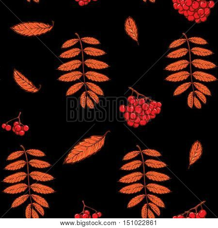 Autumn rowanberry leaves and berries. Detailed intricate hand drawing. Chaotic distribution of elements. Red on black seamless pattern. EPS10 vector illustration.