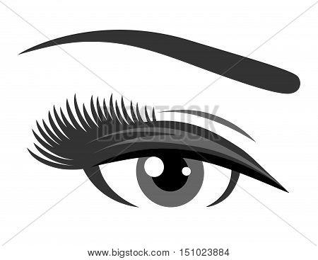 grey eye with long eyelashes on white background