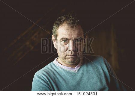 Portrait of gloomy men