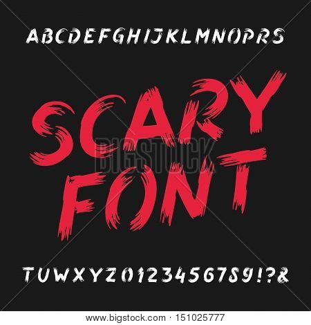 Scary alphabet font. Dirty letters, numbers and symbols. Hand drawn vector typography for your design.