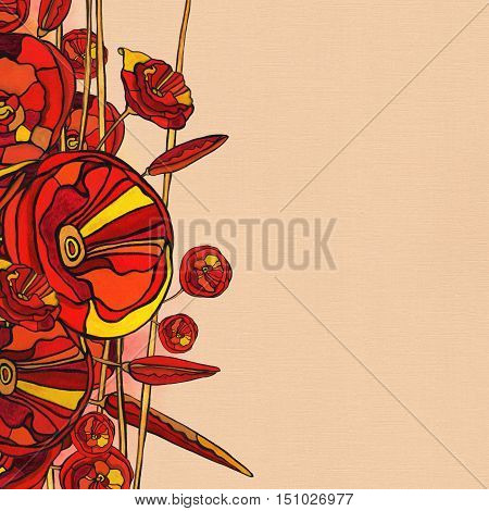 Raster Watercolor Autumn Background with flowers in red tones