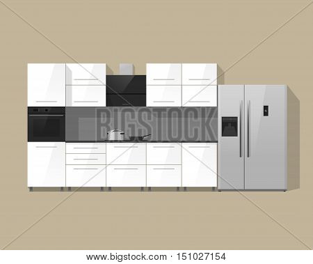Kitchen furniture cabinets vector illustration isolated on color background, white kitchen interior with black oven, stove and silver fridge from view plan