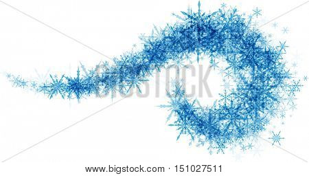 White winter background with vortex of blue snowflakes. Vector illustration.