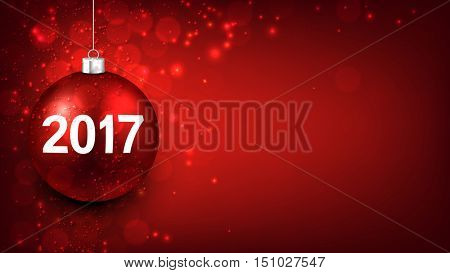 2017 New Year red background with Christmas ball. Vector illustration.