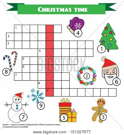 Crossword educational children game with answer. Learning vocabulary. Printable worksheet. Christmas new year winter holidays theme