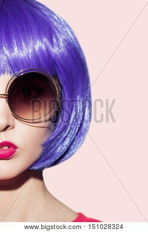 Pop Art Woman Portrait Wearing Purple Wig And Sunglasses.