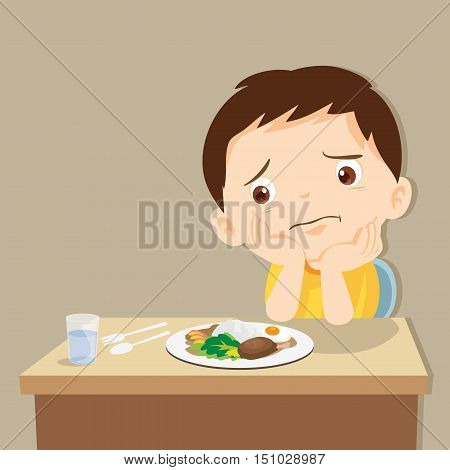 child eating boring food.Cute little boy bored with food.