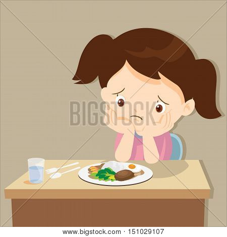 child eating boring food.Cute little girl bored with food.