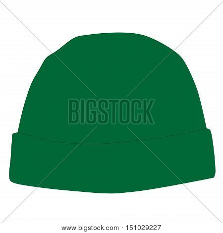 Green winter hat vector isolated on white snowboarding hat