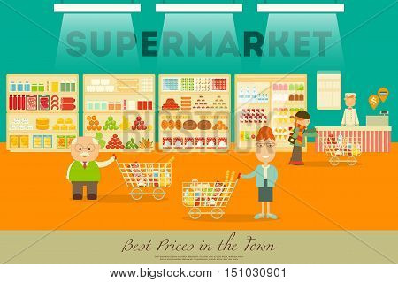 Shop and Supermarket Shelves with Products. People Shopping at Grocery. Consumerism Concept. Vector Illustration.
