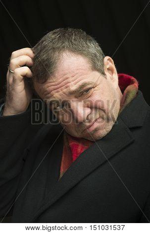 Portrait of a sad middle-aged man