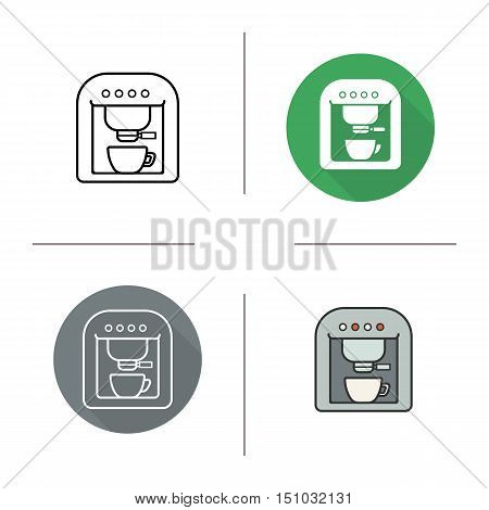 Espresso machine icon. Flat design, linear and color styles. Coffee maker. Isolated vector illustrations
