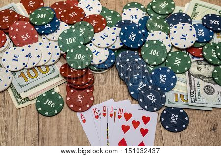 Chips and cards for poker with money