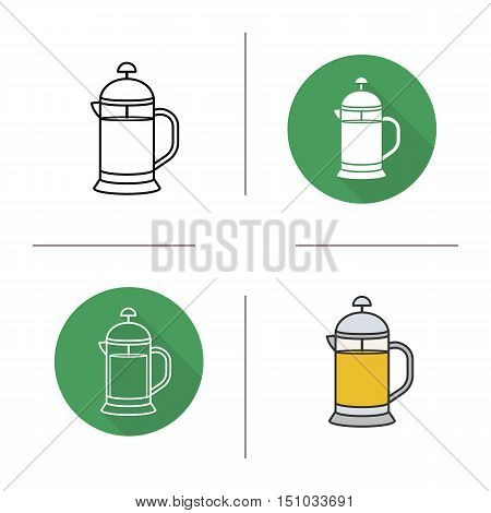 French press with green tea icon. Flat design, linear and color styles. Isolated vector illustrations