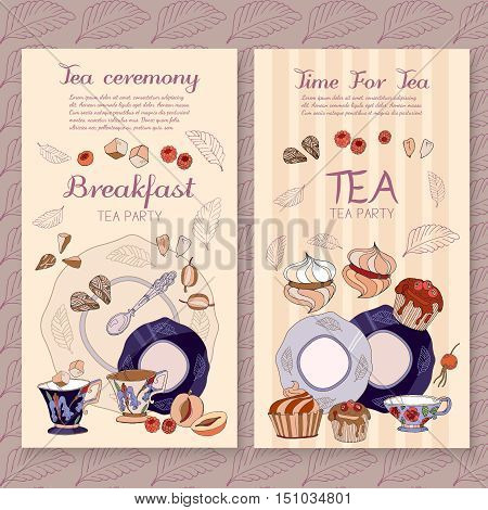 Tea menu design package time for tea and teapot sweet pastries vector cafe menu template vector