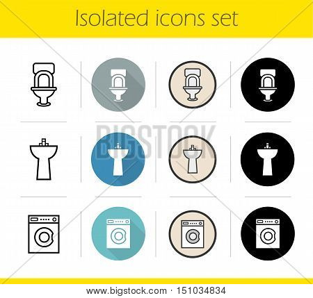 Bathroom interior icons set. Flat design, linear, black and color styles. Lavatory pan, washstand, toilet and washing machine. WC door sign. Isolated vector illustrations