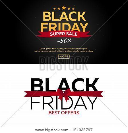 Black Friday Sale. Black Friday Banner. Shopping. Vector Illustration.
