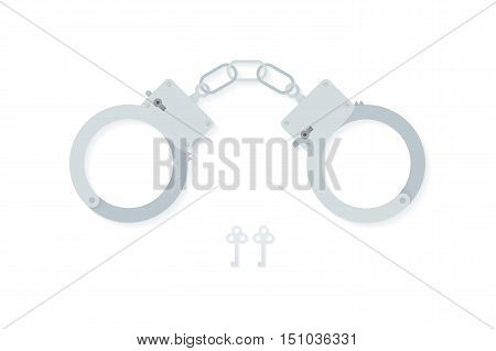 BDSM handcuffs, bondage element to immobilize partner. Sex shop stuff for sadist and masochist. Modern flat vector EPS10.