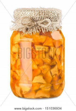Collection set of many homemade glass bottles with preserved food close up isolated on white background