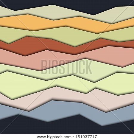 Seamless modern geometric pattern. Background with horizontal broken stripes and shadows.