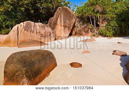 Beach Anse Lazio at island Praslin Seychelles - nature background
