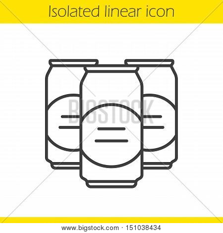 Beer cans linear icon. Thin line illustration. Contour symbol. Vector isolated outline drawing