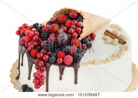 Delicious cake made from fruits and chocolate. Close up. waffle cone.