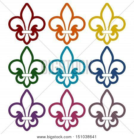 Simple Fleur de lis icons set on white background