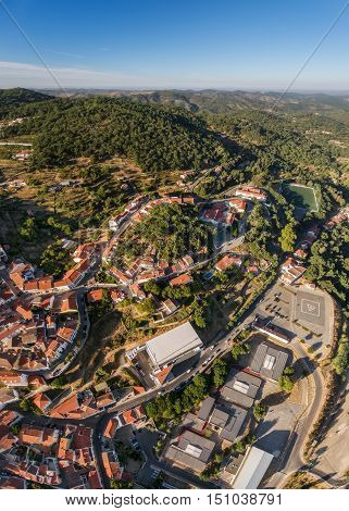 Charming Monchique in mountains of Algarve, Portugal. View from the sky of the village.