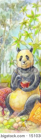 Panda watercolor painting. Illustration Japanese style animal eating noodles. Children drawing suitable for a poster children's products nursery. Honey Bear dines