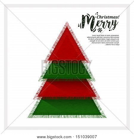 Abstract Christmas tree made from of pieces fabric.