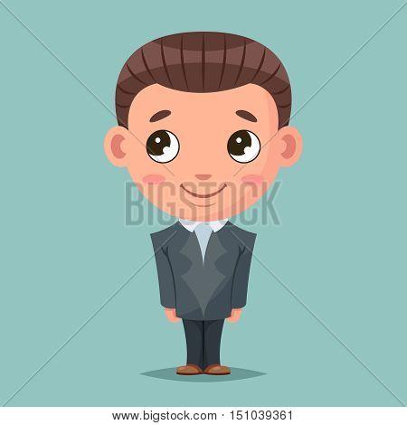 Business mascot good boy ready job cartoon design vector illustration