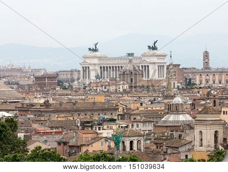 The historic center of Rome seen from Castel Sant'Angelo. Roma Italy