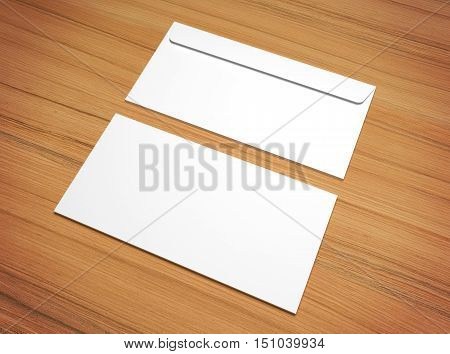 White 3D rendering postal envelopes for design presentation. Mock-up on wooden texture.