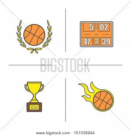 Basketball championship color icons set. Basketball ball in laurel wreath, scoreboard, flying burning ball, winner's gold award. Isolated vector illustrations