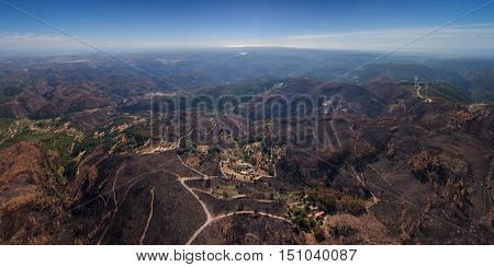Burned forest Monchique. View from the sky. Portugal