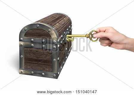 Hand Holding Pound Symbol Key Open Treasure Chest
